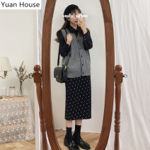 Fashion suit Winter 2020 S,M,L,XL Grey Vest + black shirt + skirt, black shirt + polka dot skirt 18-25 years old 51% (inclusive) - 70% (inclusive) cotton