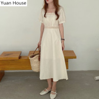 Dress Summer 2020 Apricot, blue S,M,L,XL Mid length dress singleton  Short sleeve Sweet square neck High waist Solid color zipper A-line skirt routine Others 25-29 years old Type A Hollowed out, stitched polyester fiber