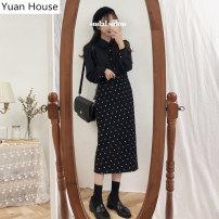 skirt Autumn 2020 S,M,L,XL Black dot skirt , Black shirt Mid length dress commute High waist Little black dress Dot Type H 18-24 years old 51% (inclusive) - 70% (inclusive) brocade Other / other polyester fiber Korean version