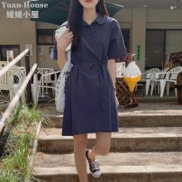 Dress Summer 2021 S,M,L,XL Middle-skirt singleton  Short sleeve commute Polo collar Loose waist Solid color Three buttons A-line skirt routine 18-24 years old Type A Korean version