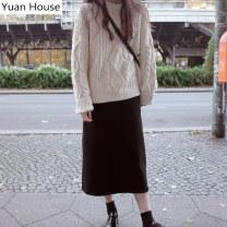 Fashion suit Winter 2020 S,M,L,XL Light apricot sweater + black skirt, light apricot sweater, black skirt 18-25 years old 71% (inclusive) - 80% (inclusive) acrylic fibres