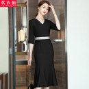 Dress Summer 2021 Black red blue purple S M L XL 2XL 3XL 4XL 5XL longuette singleton  elbow sleeve commute V-neck High waist Solid color Socket A-line skirt routine Others 25-29 years old Huan Yi Xian Korean version YWZ-8113TM-1 More than 95% other polyester fiber Pure e-commerce (online only)