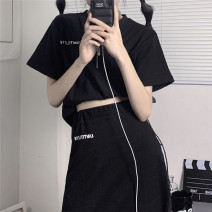 T-shirt White, black S,M,L Summer 2021 Short sleeve stand collar Self cultivation have cash less than that is registered in the accounts routine commute polyester fiber 71% (inclusive) - 85% (inclusive) 18-24 years old Korean version letter