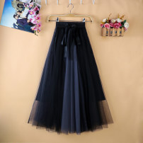 skirt Summer 2021 Average size 85CM (suitable for height above 160), 75cm Blue, pink, black and white, black pink, black blue, blue white, apricot white Mid length dress commute High waist A-line skirt other Type A More than 95% Ocnltiy Korean version