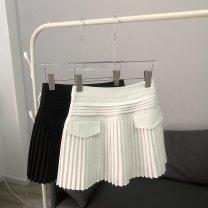 skirt Summer 2021 S spot, m spot, l spot, XL spot Black, white Short skirt commute High waist Pleated skirt Solid color Type A 25-29 years old More than 95% other Ocnltiy polyester fiber fold Korean version 601g / m ^ 2 and above