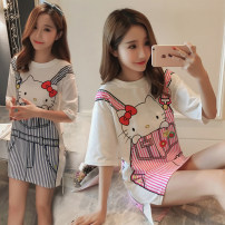 Nightdress Other / other KT rose red [5 yuan for two full pieces], KT blue [5 yuan for two full pieces] M [no pilling, no fading], l [comfortable, soft and breathable], XL [15 days free try on] Cartoon Short sleeve pajamas Middle-skirt summer Cartoon animation youth Crew neck cotton printing