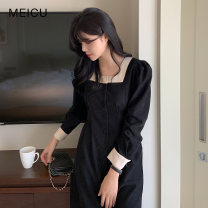Dress Winter 2020 black S,M,L,XL Mid length dress singleton  Long sleeves commute square neck High waist Solid color Single breasted A-line skirt routine Others 18-24 years old Type A Korean version