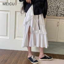 skirt Spring 2021 Average size White, black Mid length dress commute High waist Cake skirt Solid color Type A 18-24 years old 31% (inclusive) - 50% (inclusive) other Other / other Korean version