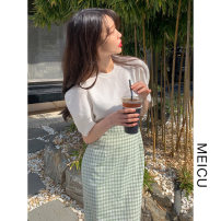 Fashion suit Summer 2021 S,M,L,XL White top, plaid skirt 18-25 years old 81% (inclusive) - 90% (inclusive)