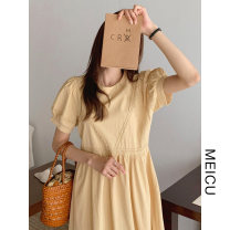Dress Summer 2021 Yellow, orange S,M,L Mid length dress singleton  Short sleeve commute Crew neck Loose waist Solid color zipper other puff sleeve Others 18-24 years old Type H Korean version