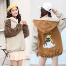 short coat Spring of 2018 SMLXL XJM 4 d025-1006 grey brown XJM 4 d025-1006 brown grey Long sleeves have cash less than that is registered in the accounts Thin money singleton  easy commute Bat sleeve Hood zipper Cartoon animation 18-24 years old Wenrou Pocket zipper print w2018022516