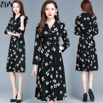 Dress Autumn 2020 black M L XL 2XL 3XL 4XL Mid length dress singleton  Long sleeves commute Crew neck middle-waisted Decor Socket A-line skirt routine Others 35-39 years old Type A My flowers Korean version pocket WHN20092807 More than 95% polyester fiber Other polyester 95% 5%