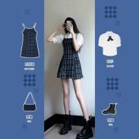 Dress Summer 2021 S,M,L,XL Short skirt Two piece set commute lattice camisole 18-24 years old Type H Korean version