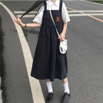 Dress Summer 2021 2516 shirt 2516 skirt 2516 shirt + 2516 skirt Average size longuette Two piece set Short sleeve commute Crew neck High waist Solid color Socket A-line skirt routine Others 18-24 years old Juan Duo Korean version pocket A210310010 More than 95% other Other 100%