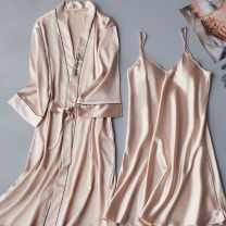 Nightdress You Muya M L XL XXL Sweet three quarter sleeve pajamas Middle-skirt summer Solid color youth V-neck Polyester (polyester) Embroidery More than 95% polyester fiber 818 - corded champagne nightdress 200g and below Summer of 2019 Polyester 95% polyurethane elastic fiber (spandex) 5%