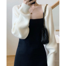 Dress Spring 2021 White sweater + black suspender skirt, [single piece] white sweater, [single piece] black suspender skirt S [quality version], m [quality version], l [quality version], XL [quality version] Short skirt Two piece set Long sleeves commute Crew neck High waist Solid color Socket Others