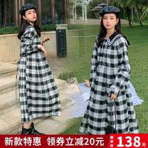 Dress Spring 2021 Black and white check S,M,L,XL longuette singleton  Long sleeves Admiral Loose waist lattice Single breasted A-line skirt routine Type A Button cotton
