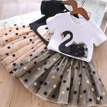 suit Other / other Black, white female summer Korean version Short sleeve + skirt 2 pieces Thin money No model Socket nothing Cartoon animation cotton Expression of love 12 months, 2 years old, 3 years old, 4 years old, 5 years old, 6 years old, 7 years old