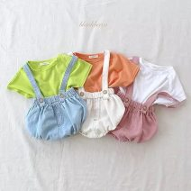 suit Other / other Pink, fluorescent green, ginger 70, 80cm, 90cm, 100cm, size 70-100 / 1 hand, 4 pieces, small size, please order according to the size chart neutral summer Europe and America Short sleeve + pants 2 pieces Thin money No model Socket nothing Solid color cotton children other