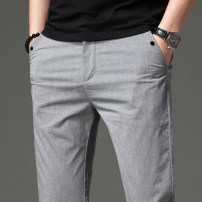 Western-style trousers Chisarel / chesare Fashion City Grey light green 28 29 30 31 32 33 34 36 38 QSL19A0639 trousers Cotton 62.9% polyester 33.5% polyurethane elastic fiber (spandex) 3.6% Slim fit summer leisure time youth Basic public Spring of 2019 Solid color No iron treatment cotton