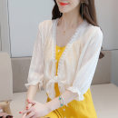 Lace / Chiffon Spring 2021 white 2XL [125-140 Jin], l [105-115 Jin], s [80-90 Jin], m [90-105 Jin], XL [115-125 Jin] three quarter sleeve Versatile Cardigan Self cultivation have cash less than that is registered in the accounts V-neck Solid color bishop sleeve 25-29 years old Girls are fashionable
