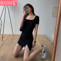 Dress Summer 2020 black S M L XL 2XL Short skirt singleton  Short sleeve commute square neck High waist Solid color Socket other routine Others 18-24 years old Type A Ooxxship / eurostorage Retro R3SOX More than 95% other other Other 100% Pure e-commerce (online only)