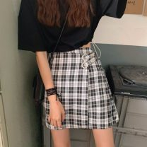 skirt Summer of 2019 S. M, XXS pre-sale Picture color Short skirt commute High waist A-line skirt lattice 18-24 years old Other / other Korean version