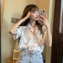 shirt White, green, yellow One size fits all, XXXs pre-sale Summer 2020 other 30% and below Short sleeve commute Medium length tailored collar Single row multi button routine Broken flowers 18-24 years old Korean version Print, button