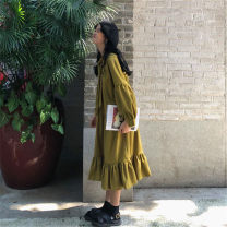 Dress Spring of 2019 Dark blue, red, yellow One size fits all, XXXs pre-sale Mid length dress singleton  Long sleeves commute other Loose waist Decor A button Ruffle Skirt bishop sleeve Others 18-24 years old Other / other Korean version Lotus leaf edge 177#