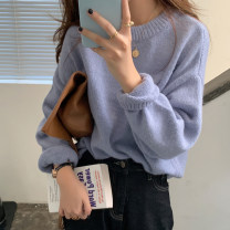 sweater Autumn 2020 One size fits all, XXXs pre-sale Long sleeves Socket singleton  Medium length other 30% and below Crew neck thickening commute routine Solid color Keep warm and warm 18-24 years old