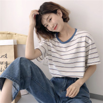 T-shirt Stripe t One size fits all, XXXs pre-sale Summer of 2019 easy Regular commute other 30% and below 18-24 years old Korean version youth Thin horizontal stripe
