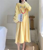 Nightdress Other / other yellow One size fits all, XXXs pre-sale Cartoon Long sleeves Leisure home longuette winter Cartoon animation Crew neck other More than 95% Flannel 200g and below