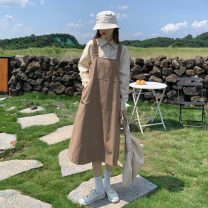 Dress Spring 2021 Apricot shirt piece, blue shirt piece, khaki strap skirt piece, black strap skirt piece Average size Mid length dress other commute square neck Solid color Socket A-line skirt straps 18-24 years old Type A Korean version