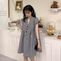 Dress Summer 2020 Short skirt singleton  commute V-neck High waist lattice Three buttons A-line skirt Others 18-24 years old Type A Button, button 30% and below other