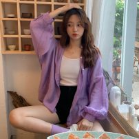 shirt White, purple One size fits all, XXXs pre-sale Summer 2020 other 31% (inclusive) - 50% (inclusive) Long sleeves commute Regular square neck Single row multi button Solid color Korean version