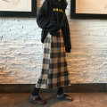 skirt Autumn of 2019 S. M, l, XXS pre-sale Mid length dress commute High waist A-line skirt lattice Type A 18-24 years old 30% and below other Other / other other pocket Korean version 301g / m ^ 2 (including) - 350g / m ^ 2 (including)