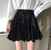 skirt Winter 2020 S. M, l, XXS pre-sale black Short skirt commute High waist Pleated skirt Solid color Type A 18-24 years old 30% and below other polyester fiber fold Korean version 161g / m ^ 2 (including) - 180g / m ^ 2 (including)