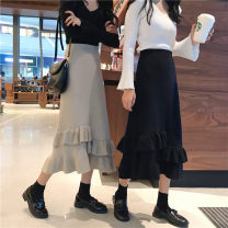 skirt Winter of 2018 One size fits all, XXXs pre-sale Black, milky coffee Middle-skirt High waist Ruffle Skirt Solid color Type A 18-24 years old Other / other