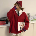 sweater Winter of 2018 One size fits all, XXXs pre-sale 48 ᦇ red sweater, 48 ᦇ gray sweater, 48 ᦇ card color sweater, 35 ᦇ white shirt Long sleeves Socket singleton  Regular other 95% and above V-neck thickening commute routine Solid color Regular wool Keep warm and warm 18-24 years old Other / other