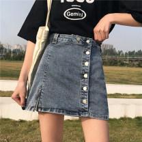 skirt Spring of 2019 Blue, black Short skirt Versatile High waist A-line skirt Solid color Type A 18-24 years old 81% (inclusive) - 90% (inclusive) other Other / other other