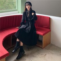 Dress Spring 2021 Blue, red, black One size fits all, XXXs pre-sale Mid length dress singleton  Long sleeves Sweet Elastic waist A-line skirt 18-24 years old Type A solar system