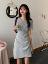 Dress Summer 2020 Gray, black One size fits all, XXXs pre-sale Short skirt singleton  Short sleeve commute V-neck High waist Solid color Socket A-line skirt routine Others 18-24 years old Type A Korean version Asymmetry 30% and below other other