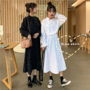 Dress Winter of 2018 White, black One size fits all, XXXs pre-sale Mid length dress singleton  Long sleeves commute other Elastic waist Dot Socket A-line skirt other Others 18-24 years old Other / other Korean version bow More than 95% polyester fiber