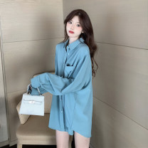 shirt Light blue. White. Lake green One size fits all, XXXs pre-sale Autumn 2020 other 30% and below Long sleeves commute Medium length Polo collar Single row multi button shirt sleeve other 18-24 years old Korean version Button