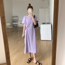 Dress Summer 2020 One size fits all. Spot, XXXs pre-sale longuette singleton  Short sleeve commute Crew neck High waist Solid color Socket routine Others 18-24 years old Type H Korean version Splicing 30% and below other