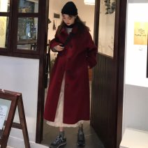 woolen coat Winter of 2019 One size fits all, XXXs pre-sale Red, black other 30% and below Medium length Long sleeves commute Single breasted Straight cylinder Korean version Other / other 18-24 years old