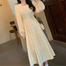 Dress Autumn 2020 canary yellow S,M,L,XL,2XL longuette singleton  Long sleeves commute square neck High waist Decor Socket Big swing puff sleeve Others 18-24 years old Type A Korean version fold 30% and below polyester fiber