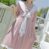 Dress Summer 2021 Pink S,M,L,XL Short skirt singleton  Short sleeve Sweet Admiral High waist Solid color Socket Princess Dress puff sleeve Others 18-24 years old Type A 31% (inclusive) - 50% (inclusive) other Countryside