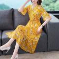 Dress Summer 2020 yellow S,M,L,XL,2XL Two piece set elbow sleeve commute V-neck middle-waisted Decor Socket A-line skirt Lotus leaf sleeve Type A lady bow
