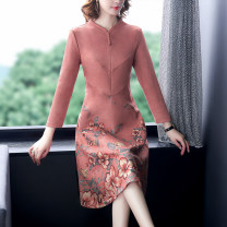 Dress Autumn 2020 Pink M,L,XL,2XL,3XL,4XL longuette singleton  Long sleeves commute other middle-waisted Big flower zipper other routine Others Retro Button